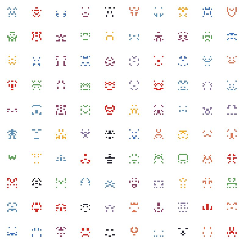 matriz de bichitos generativos estilo 8 bits de colores aleatorios